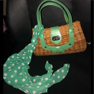 Handbags - Vintage IntricatelyWoven Bamboo Purse Green Accent